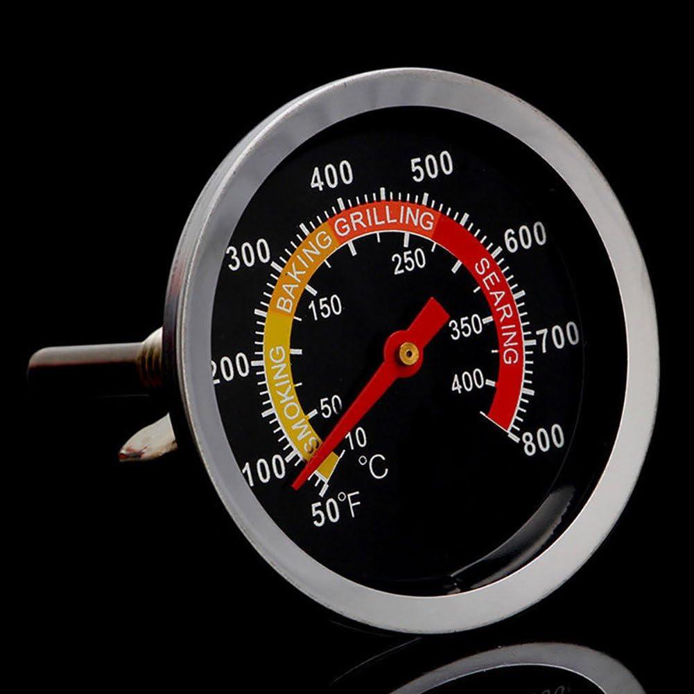 QLING Grillthermometer f/ür Grill 50-400 /°C Thermometer Wie abgebildet Holzkohle Kochen Temperaturmesser Edelstahl Sonde Grill Grill Ofen