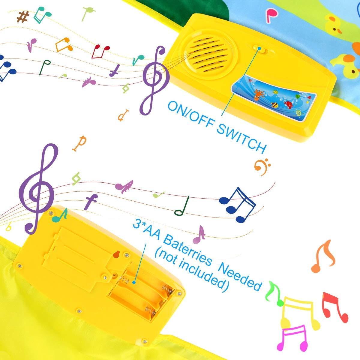 Joyfia Piano Mat, 53.2'' Electronic Music Piano Keyboard Carpet Animal Blanket Touch Dance Play Mat Toys, Baby Early Education Gifts for Kids Toddler Infant Boys Girls by Joyfia (Image #5)