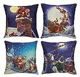 Set of 4 Christmas Throw Pillow Covers - Christmas