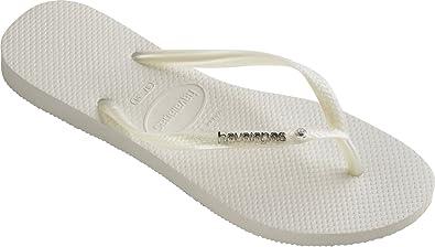 5c0359831 Havaianas Slim Metal Logo   Crystal Thong Flip Flops White - UK 8 - BR 41
