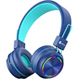 iClever BTH03 Kids Bluetooth Headphones, Colorful LED Lights Kids Wireless Headphones with MIC, 25H Playtime, Stereo Sound, B