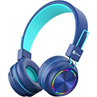 iClever Kids Headphones Bluetooth - Colorful Lights Headphones for Kids with MIC, Volume Control Foldable - Childrens…