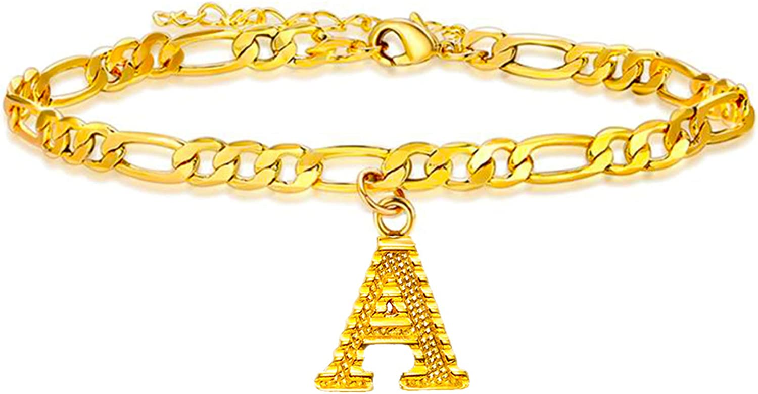 Long tiantian Gold Initial Anklet Cuban Link Anklets Bracelet for Women Gold Letter Anklet for Girls Name Bracelet Anklet