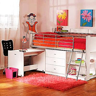 Charleston Storage Loft Bed with Desk, White