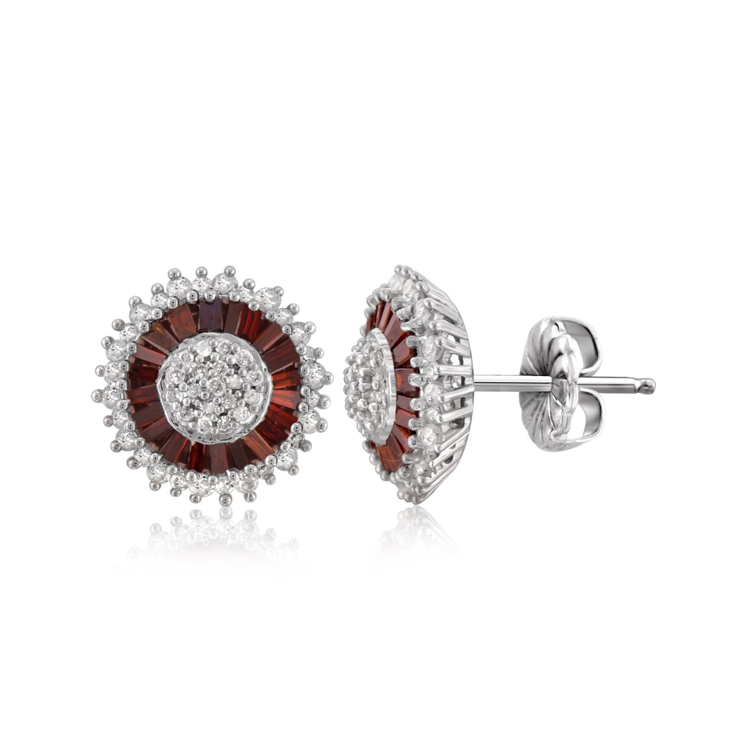 1.00 CTW Genuine Red & White Diamond Sterling Silver Earring