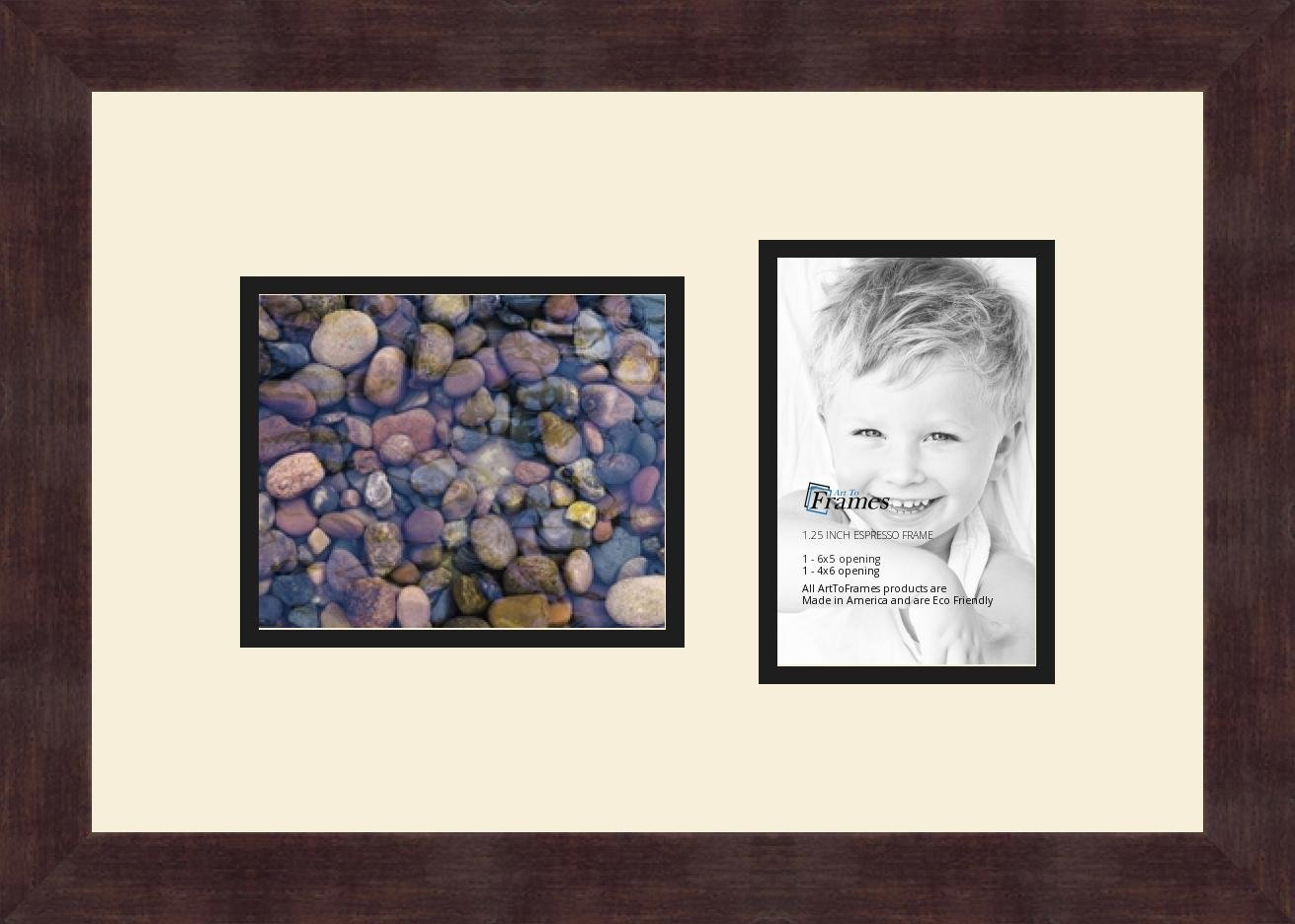 Art to Frames Double-Multimat-1112-128//89-FRBW26061 Collage Frame Photo Mat Double Mat with 1-5x6 and 1-4x6 Openings and Espresso frame