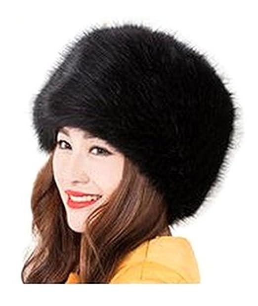 b7a3563b9d6 Amazon.com: wonderful lifetime Women/Ladies Winter Hat Faux Fur Cossak  Russian Style Hat (Black): Clothing