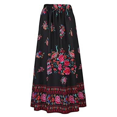 0c199030b0 UOFOCO Skirts for Women Boho Long Maxi Skirt Beach Floral Holiday Summer  High Waist
