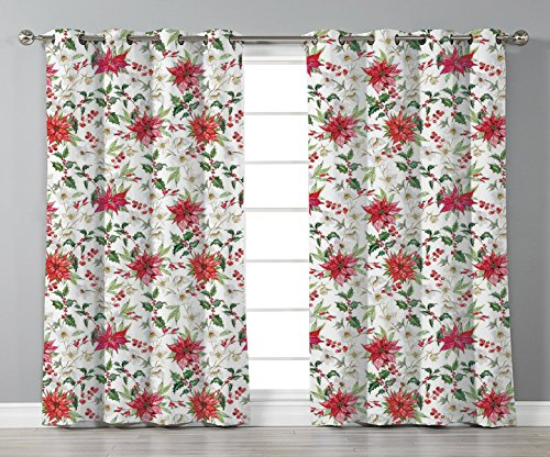 Thermal Insulated Blackout Grommet Window Curtains,Watercolor,Fresh Poinsettia Flowers and Rowan Berry Branches Christmas Garden,Vermilion Green Magenta,2 Panel Set Window Drapes,for Living Room Bedro from iPrint