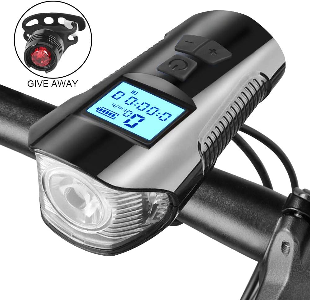 Lurowo Bike Computer,USB Rechargeable Bicycle Speedometer with Display Night Riding Bicycle Odometer Waterproof Code Table,Bike Tail Light Speedometer,for Mountain Road Bike