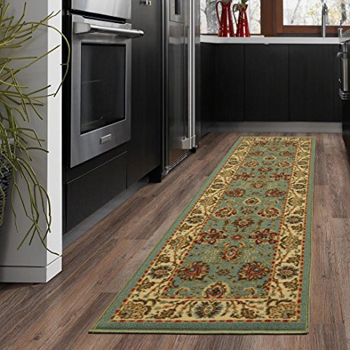 - Ottomanson New Ottohome Collection Persian Style Oriental Sage Green/Aqua Blue Runner (1'10