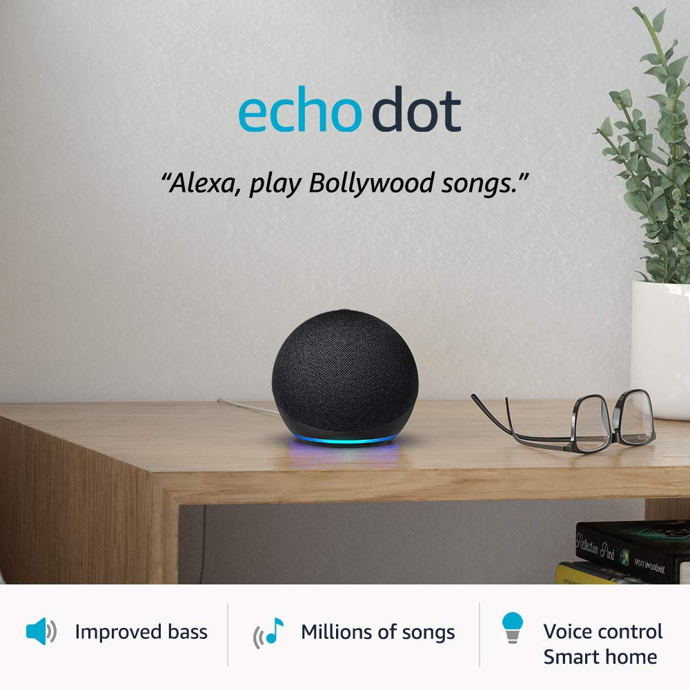 All-new Echo Dot (4th Gen) | Next generation smart speaker with improved bass and Alexa (Black)
