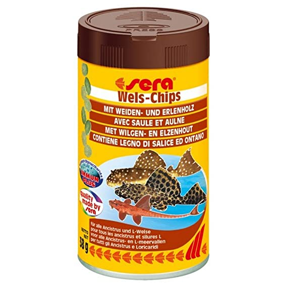 SERA Piensos para peces de Wels chips de 38 gr - Comida de peces