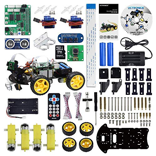 UCTRONICS Robot Car Kit for Raspberry Pi - Real Time Image and Video, Line Tracking, Obstacle Avoidance with Camera Module, Line Follower, Ultrasonic Sensor and App Control by UCTRONICS (Image #1)