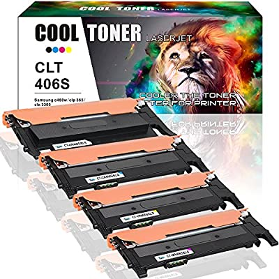 Cool Toner Compatible Samsung C410W C460 Toner for Samsung CLT 406s CLT-406s Set of 4 Color Toner Cartridge Replacement for Samsung Xpress C410W C460FW Laser Printer