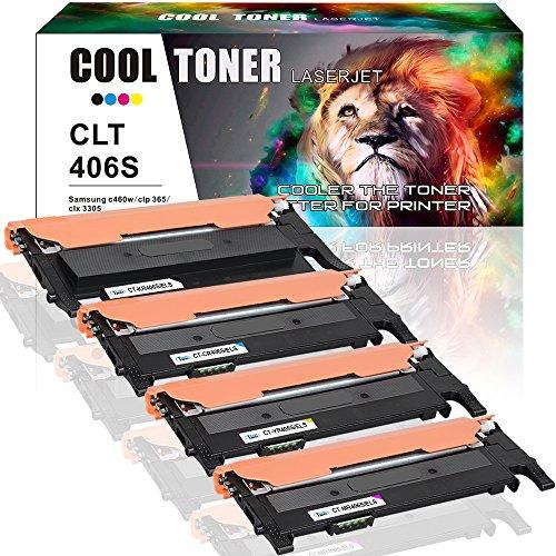Cheap Cool Toner Compatible for Samsung CLT406S CLT-K406S CLT-M406S CLT-C406S CLT-Y406S Toner Cartridge Replacement for Samsung Xpress C410W C460FW SL-C410W SL-C460FW CLX-3305FW CLP-365W Toner Printer - 4PK