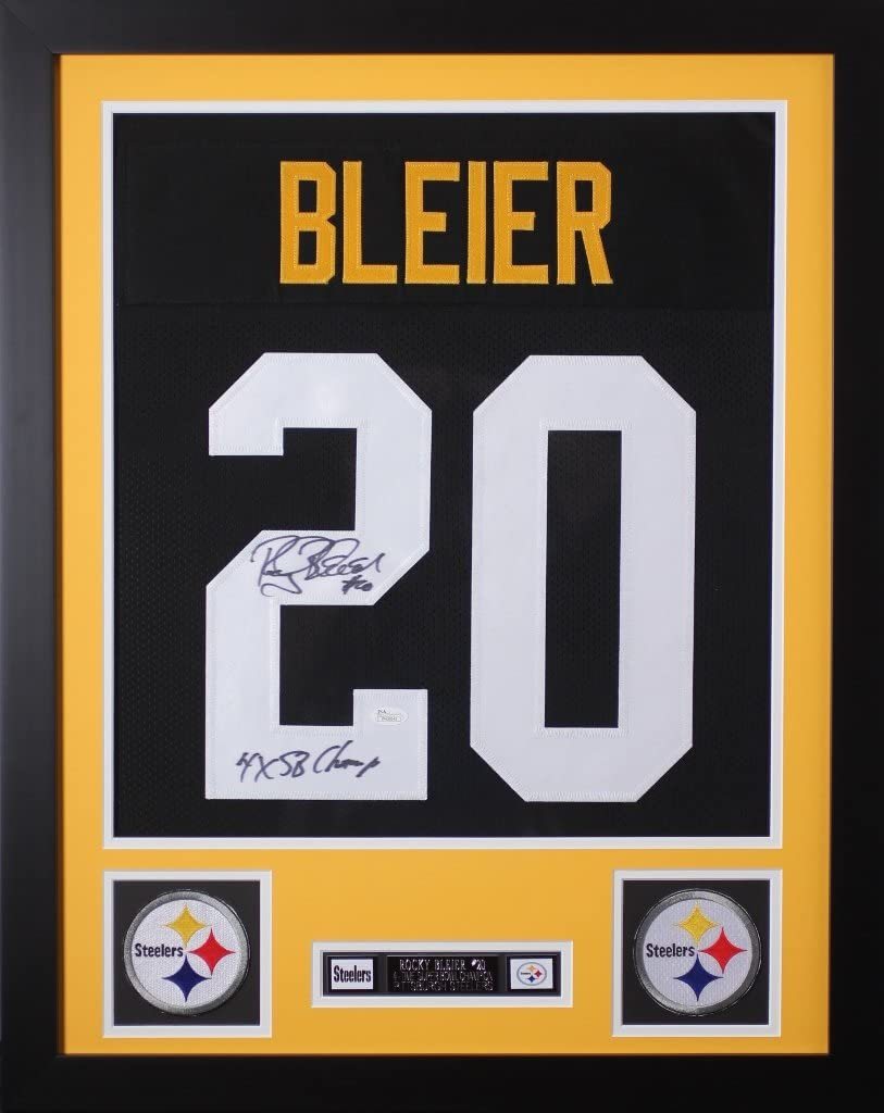 Amazon.com: Rocky Bleier Autographed Black Jersey - Beautifully ...