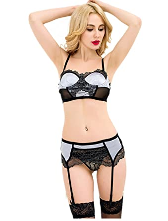 46902529071e6 Image Unavailable. Image not available for. Color  ohyeahlady Women  Badydoll Garter Belt Set Plus Size Delicate Mesh Underwire Bra ...