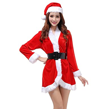 ac18e03f7 OULII Santa Claus Costume Womens Santa Suit Christmas Fancy Dress Costume  with Dress Belt and Hat One Size - 3 Pieces: Amazon.co.uk: Clothing