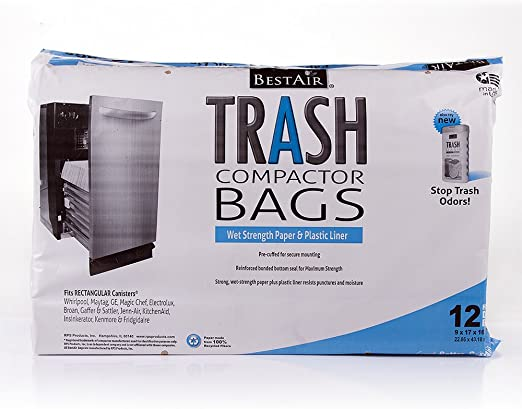BestAir Trash Compactor Bags 16/'/' D. x 9/'/' W. x 17/'/' H,pack of 12