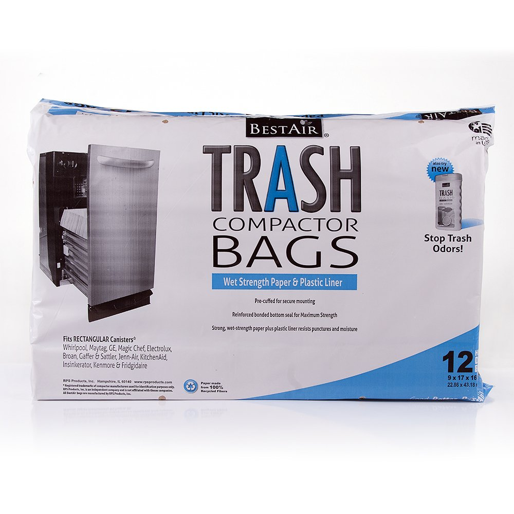 RPS PRODUCTS BestAir Trash Compactor Bags(16'' D. x 9'' W. x 17'' H,Pack of 12)