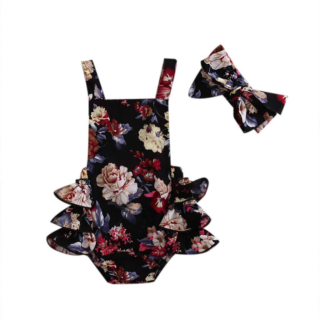 B. Bone Cute 2PCS Flower Romper Sleeveless Outfits Infant Baby Girls Clothing Jumpsuits Headband Clothes Black