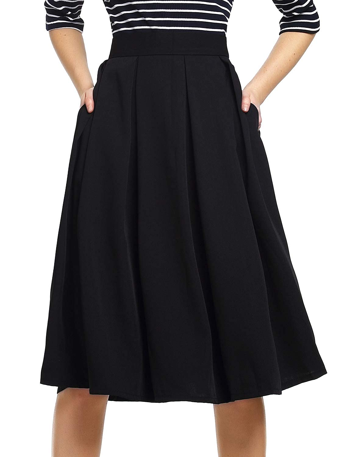 6457d12f18 Beluring Womens High Waist A-Line Skater Skirt with Pockets at Amazon  Women's Clothing store: