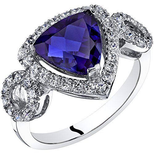 14K White Gold Created Sapphire Ring Trillion Cut 2.50 Carats size 8