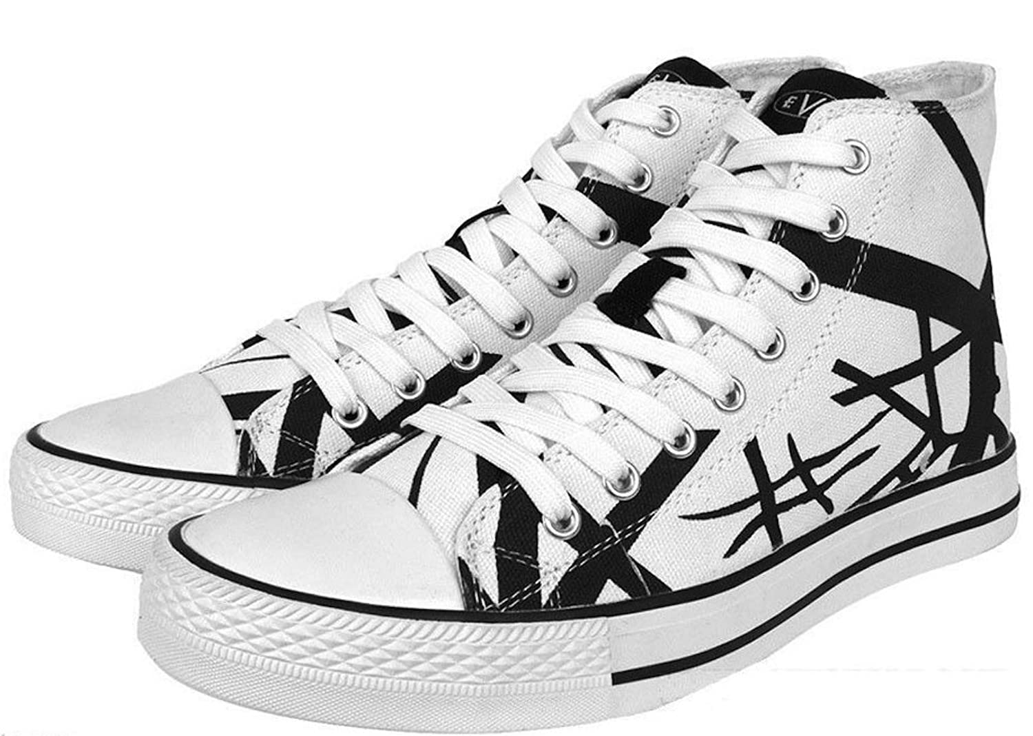 76160f4951 Amazon.com  EVH Eddie Van Halen Black Striped On White 1200 High Top Unisex  Sneakers Size 8.5  Clothing