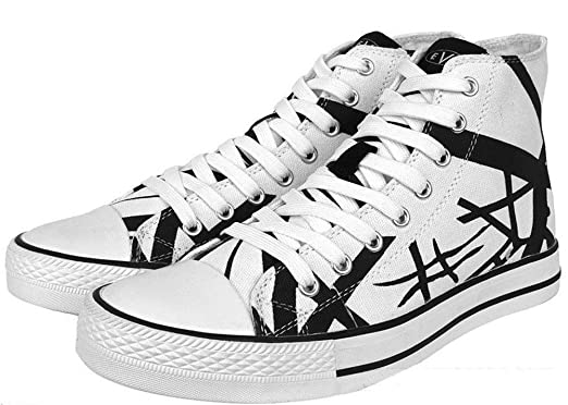 912a05e988 Image Unavailable. Image not available for. Color  EVH Eddie Van Halen  Black Striped On White 1200 High Top Unisex Sneakers ...