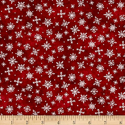Maywood Accent - Just Be Claus Stitched Snowflakes Red Fabric