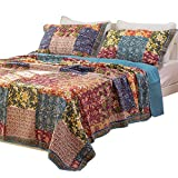 Best Comforbed Comforter Sets - Shabby Chic Floral 3 Pieces Country Patchwork Bedspread Review
