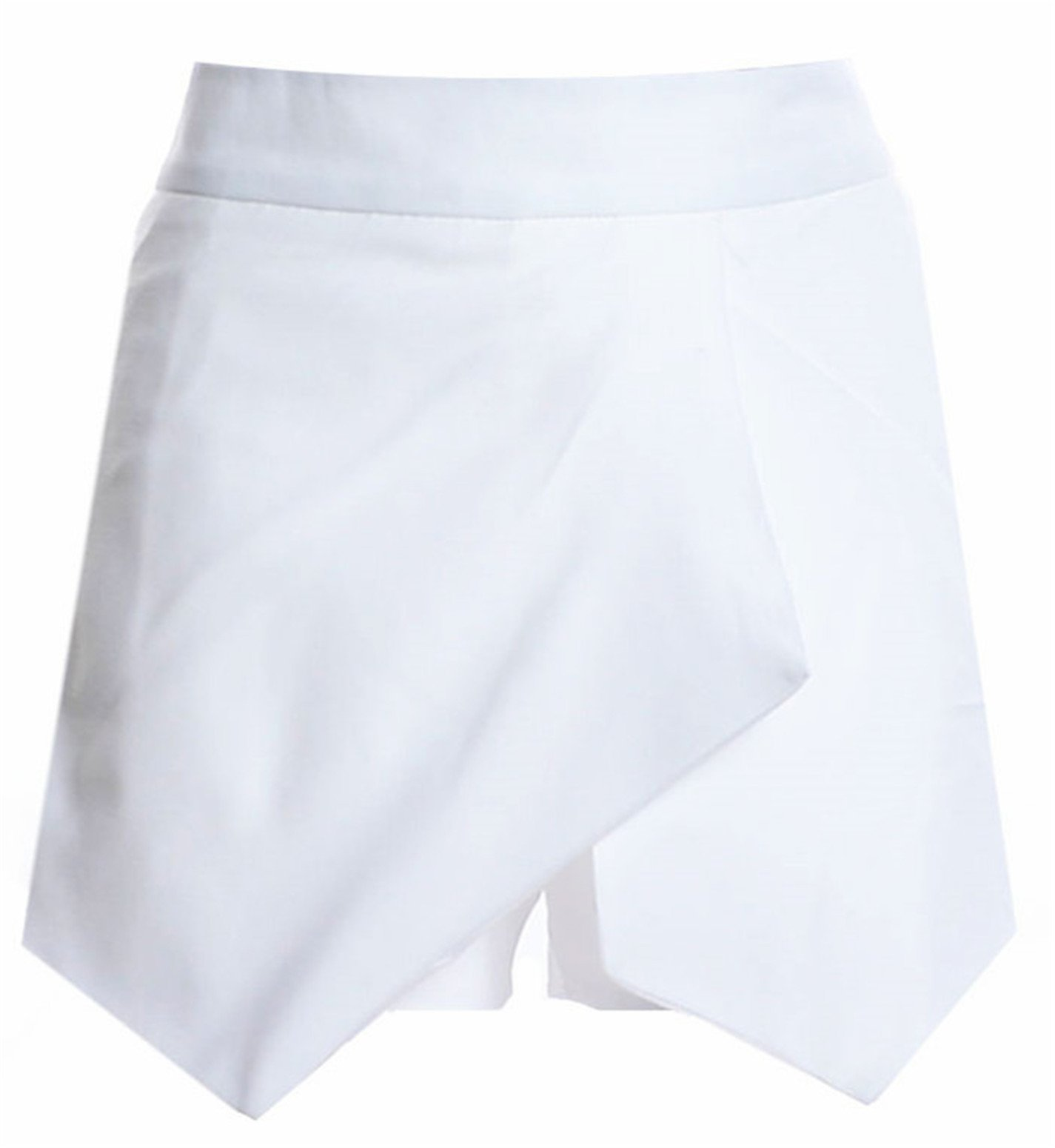 Highwaist Cross Wrap Front Skirted Skirt Shorts Hotpants Hot Pants White S