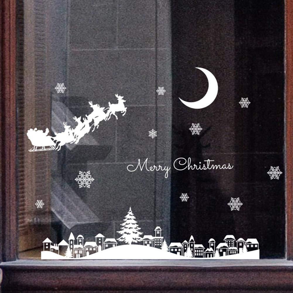 Wood.L Pegatinas De Ventana De Puerta De Navidad /Árbol De Navidad Santa Claus Pegatina De Navidad Extra/íble Vinilo Navide/ños Para Escaparates Decoraciones De Feliz Navidad Para Hogar