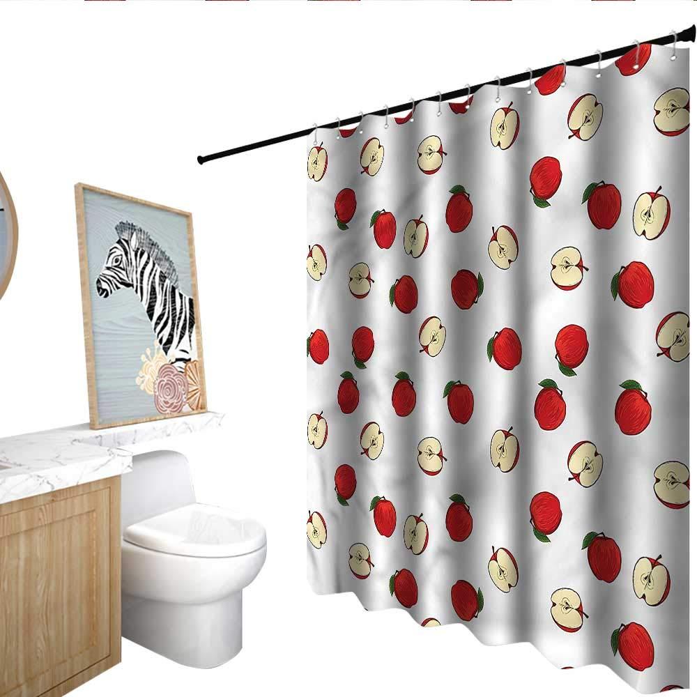 "BlountDecor Apple Shower Curtains Waterproof Vibrant Fruit Slices 72""x72"",Suitable for Bathroom, Send Hook"