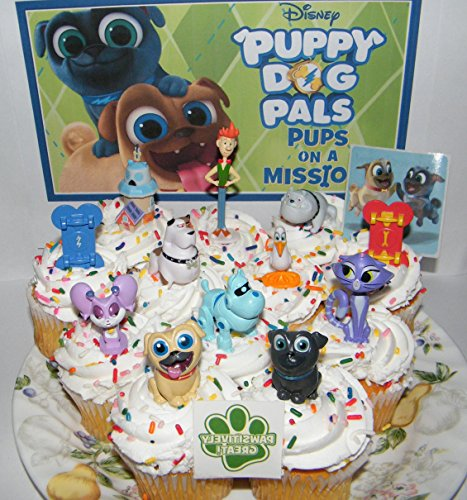 Disney Puppy Dog Pals Deluxe Cake Toppers Cupcake Decorations Set of 14 with Figures, 2 Skateboards, PAW Tattoo and Pals Sticker Featuring ARF, Bingo, Rolly and Friends. -