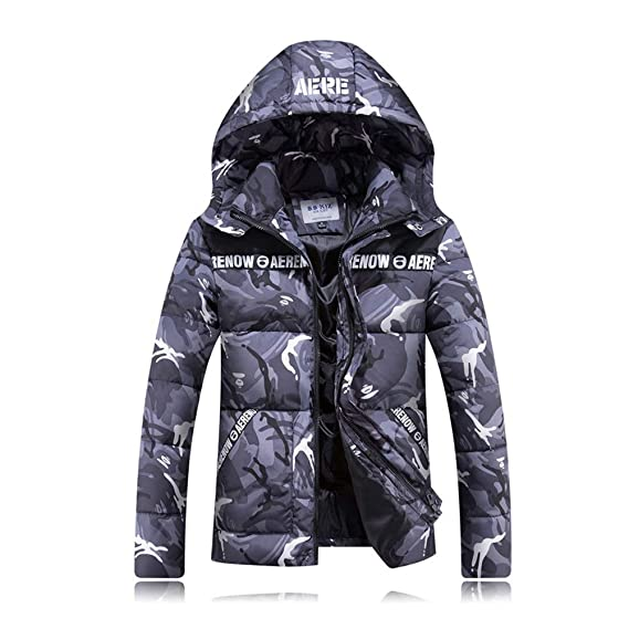 HUAN Abrigos de camuflaje de los hombres Abrigos con capucha de invierno Abrigos ajustados Outwear Chaquetas