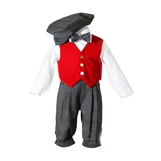 Vintage Style Children's Clothing: Girls, Boys, Baby, Toddler Toddler Boys Knickers Outfit with Red Velvet Vest Hat Shirt Bow Tie $31.99 AT vintagedancer.com