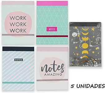 Starplast Pack 5 Libretas Notas, Cuaderno, Interior Rayas, 15x10.5cm, Varios Diseños para Uso Escolar, Oficina, Trabajo, etc. 6 Diseños: Amazon.es: Oficina y papelería