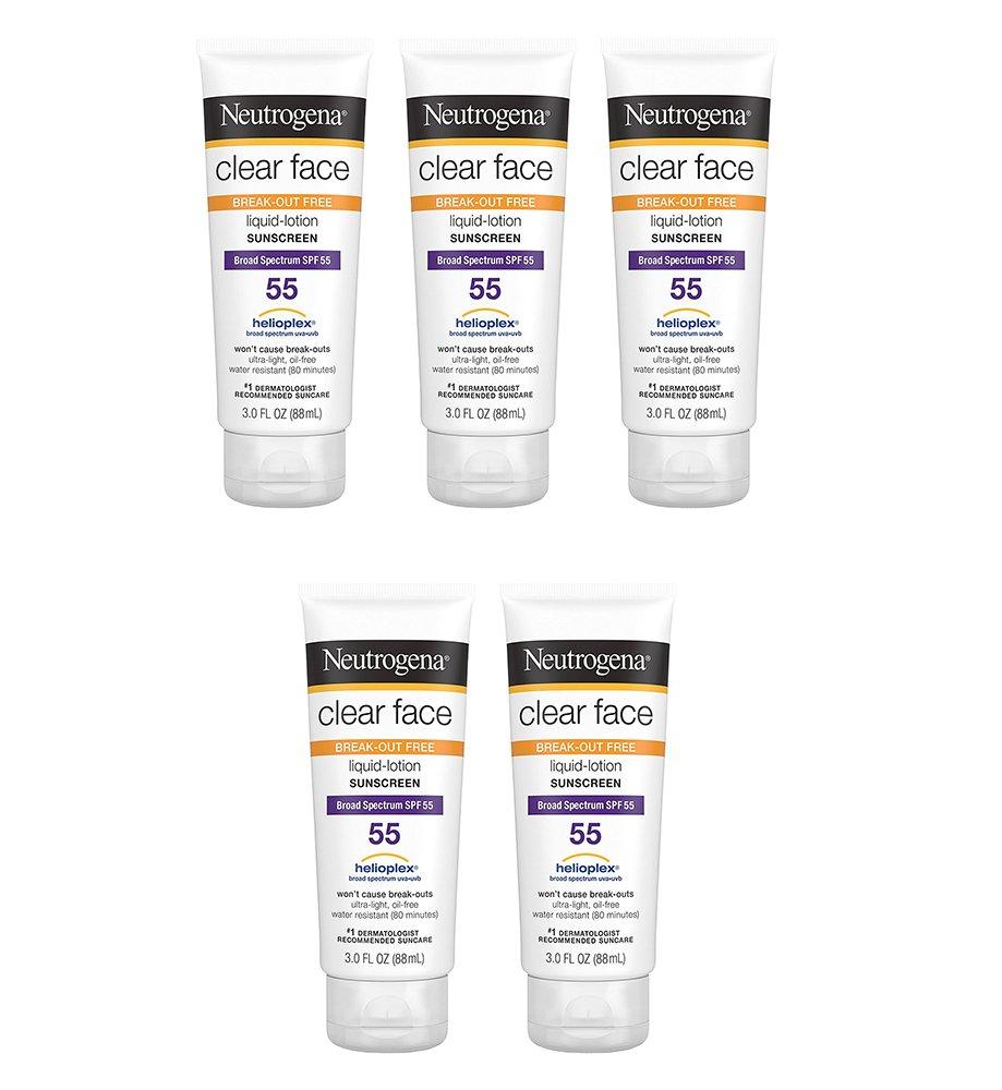 Neutrogena Clear Face uRAEu Liquid Lotion Sunscreen For Acne-Prone Skin, 3 Fl. Oz., SPF 55 (5 Pack)