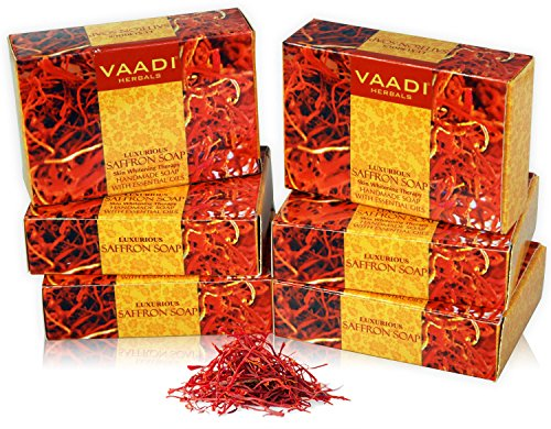 Vaadi Herbals Super Value Luxurious Saffron Skin Whitening Therapy Soap, 75g (Pack Of 6) 2021 June Quality: 450g (Each 75g); Saffron lightens and softens skin Adds natural glow; Evens skin tone Application: Face & Body