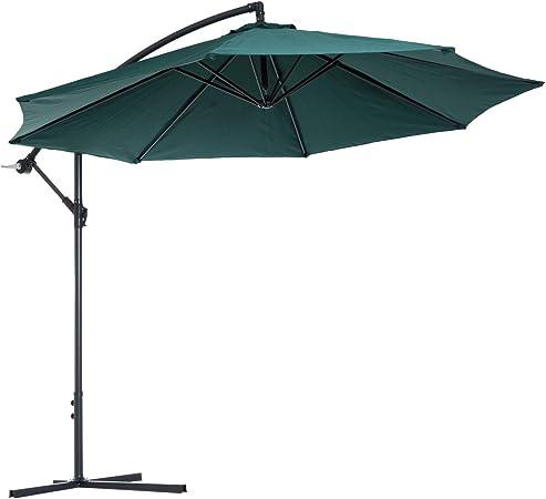 Outsunny Sombrilla Reclinable de Jardín o Patio Parasol para Exterior Verde Oscuro Acero y Tela de Poliéster 180g/㎡ Φ3 x 2.6m (Diámetro x Alto): Amazon.es: Jardín