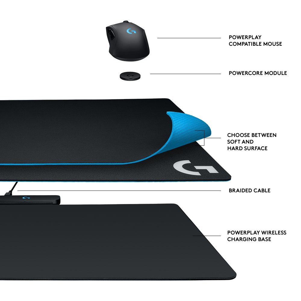 Logitech G Powerplay Wireless Charging System for G703, G903 Lightspeed Wireless Gaming Mice, Cloth or Hard Gaming Mouse Pad by Logitech (Image #2)