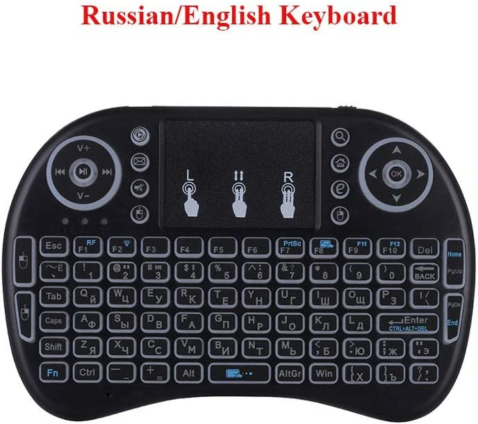 Calvas Mini Wireless Keyboard Touchpad 2.4G Russian English Spanish Backlit I8 Keyboard Touchpad For Android TV Box Laptop Air Mouse Color: Spanish Version