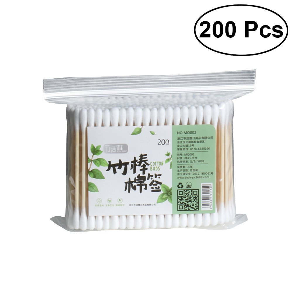 Vosarea 200PCS Cotton Swabs Applicator Double Tipped Multipurpose Cotton Buds Swab for Beauty Makeup Cleaning Remover