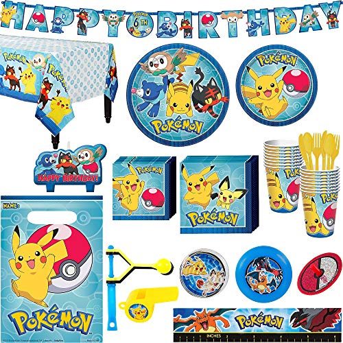 Pokémon Core Birthday Party Kit, Includes Happy Birthday Banner and Party Favor Pack, Serves 16, by Party City -