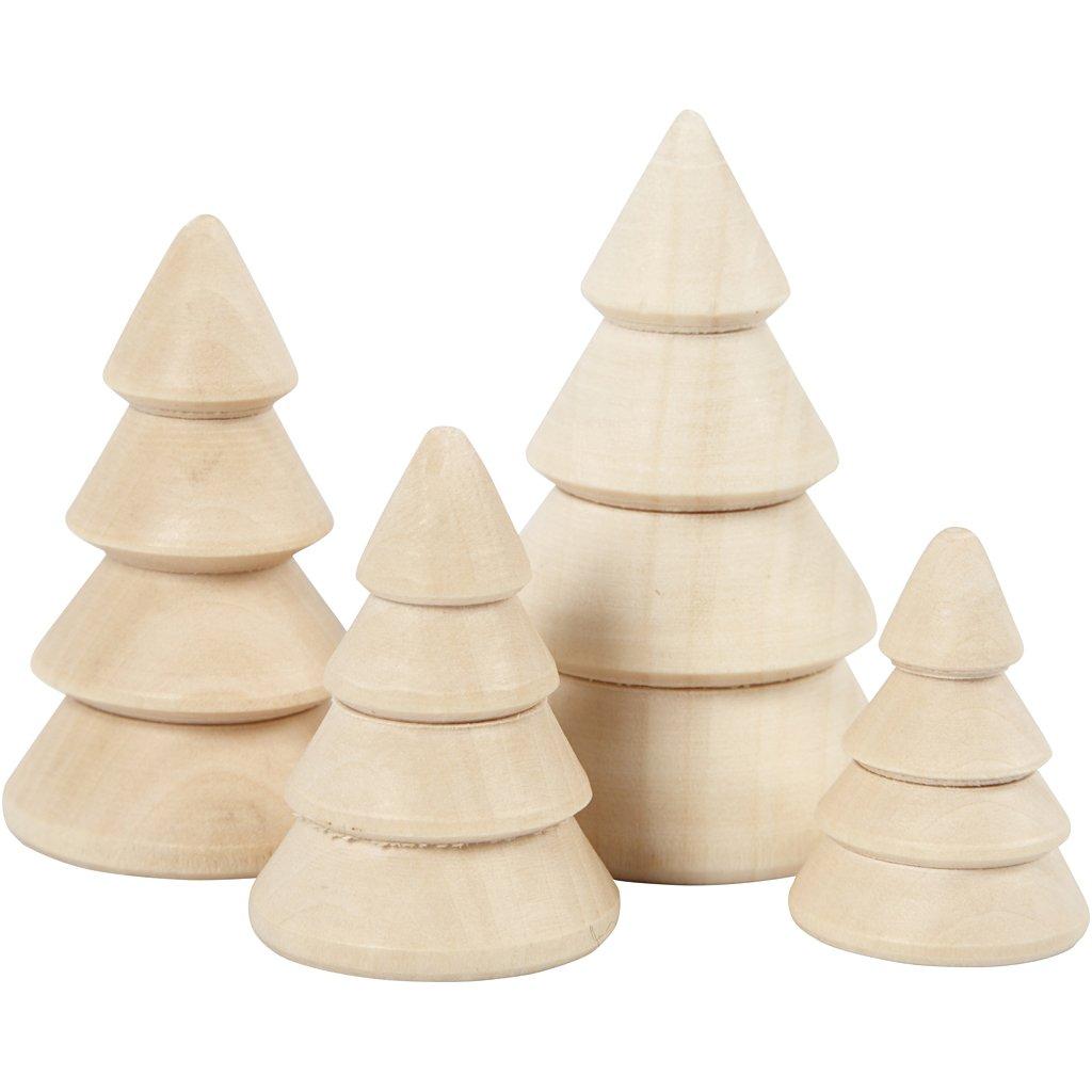 Wooden Christmas Trees.Wooden Christmas Trees H 3 3 4 3 5 3 6 3 Cm D 2 3 3 3 2 4 Cm Empress Wood 4pcs