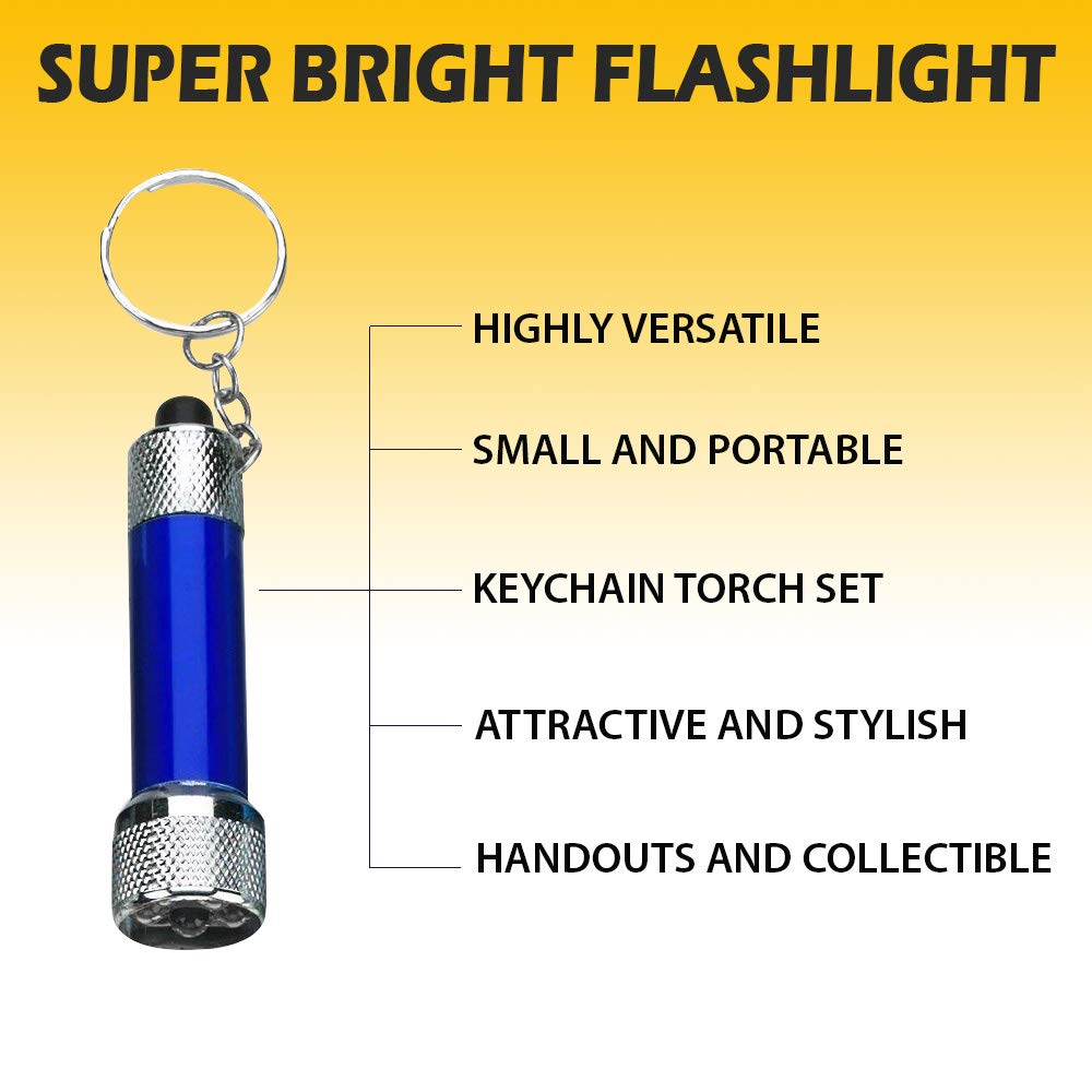 Mini LED Flashlights Keychain 12-Pack Assorted Colors - 2.5 Inches Mini Plastic Pocket Torch - 5-Bulb LED Keyring For Camping, Kids, Party Favor, Goody Bag Filler, Gift, Prize, Pocket Size - By Kidsco by Kidsco (Image #6)