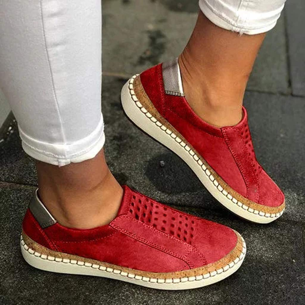 ✔ Hypothesis_X ☎ Women's Casual Walking Shoes Breathable Mesh Work Slip-on Breathable Sneakers Red by ✔ Hypothesis_X ☎ Shoes (Image #3)