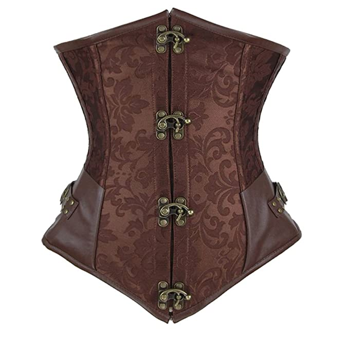 a89254c21b Women s Retro Steampunk Steel Boned Underbust Corset Sexy Waist Slim  Bustiers at Amazon Women s Clothing store